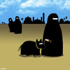 Cartoon: Burka dog (small) by toons tagged burka,burqa,dogs,walking,the,dog