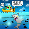 Cartoon: Communicating (small) by toons tagged dolphins,sea,world,fish,mobile,phones,communications,oceans,seafood,fishing,marine,biology,science,social,networking