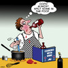 Cartoon: Cooking with wine (small) by toons tagged cooking,chef,wine,alcohol,master,cook,alcoholic,ingredients,menu,recipe,drunk