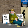 Cartoon: Go for broke (small) by toons tagged begging,going,for,broke,bankrupt,homeless