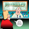 Cartoon: Happy hour (small) by toons tagged pharmacy,chemist,happy,hour,prescriptions,drugs,prozac,valium