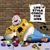 Cartoon: life style coach (small) by toons tagged life,style,coach,self,help,physical,fitness,exercise,alcoholic,gym,pills,personal,trainer,fat,obesity,overweight