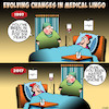 Cartoon: Medical Lingo (small) by toons tagged iphones,coma,medical,talk,lingo,wasted,sleeping,hospitals