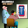 Cartoon: Millennials (small) by toons tagged eye,charts,millennials,gen,eyesight,test,smartphones,text,talk,texting