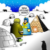 Cartoon: new around here (small) by toons tagged pyramid,egypt,pharoh,eskimo,penguin,igloo,arctic,immigration,strangers,polar,bears,seals,housing
