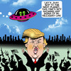 Cartoon: No sign of intelligent life (small) by toons tagged donald,trump,aliens,flying,saucer,us,elections,hillary,clinton,kkk,far,right