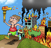 Cartoon: Olympics torch (small) by toons tagged cities,after,hosting,the,olympics,marathon,runner,olympic,torch,bushfires,fires