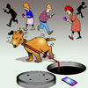Cartoon: Oops (small) by toons tagged texting,dog,on,leash,manhole,careless,while,driving