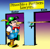 Cartoon: Pinocchio and Partners (small) by toons tagged pinocchio,lawyers,law,judges,courts,barrister,clerk,the,bar,solicitor,defendant