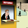 Cartoon: Returns (small) by toons tagged boomerangs,department,stores,shopping,returns,counter,malls,free,trial