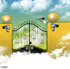 Cartoon: security cameras (small) by toons tagged security,camera,heaven,god,christ,hell,angels,burglar,safety,religion