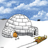 Cartoon: separate accommodation (small) by toons tagged husky,igloo,antarctic,north,pole,eskimo