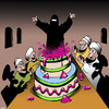 Cartoon: Surprise (small) by toons tagged burqa,girl,in,cake,burka,stripper,bucks,party
