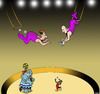 Cartoon: Texting trapeze artist (small) by toons tagged texting,circus,performer,trapeze,social,media,smart,phone,iphone,distracted