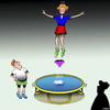 Cartoon: Trampoline (small) by toons tagged trampoline,underwear,girls,panties,knickers,exercise