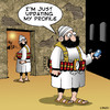 Cartoon: update my profile (small) by toons tagged suicide,bomber,terrorism,terrorist,social,media,mobile,phones,facebook,twitter