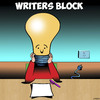 Cartoon: Writers block (small) by toons tagged writers,block,light,bulb,ideas,journalist,creative,writing,author,arts,playwright,publisher,no