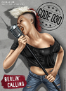 Cartoon: Berlin Calling (small) by toonsucker tagged berlin wild stadt subkultur jugend youth subculture city rock music musik girl mikro