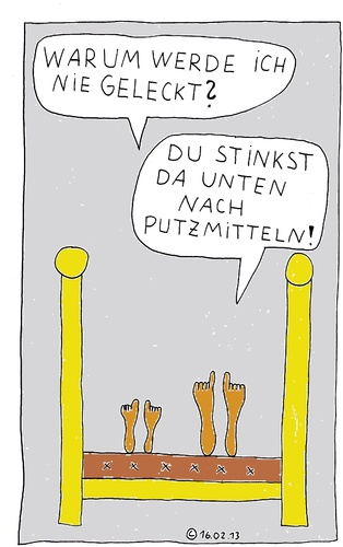 Cartoon: Im Bett 21 (medium) by Müller tagged im,bett,bed,lecken,geruch,smell