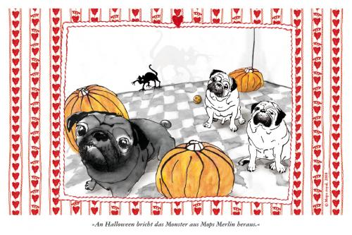 Cartoon: Pugoween (medium) by Mops royal tagged halloween,pug,dog,monster,mops,hund,tiere