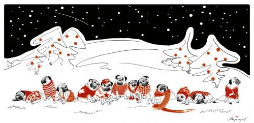Cartoon: Wintermöpse (medium) by Mops royal tagged weihnachten,christmas,mops,pug,winter,snow,dogs,heiligabend,holy,night,hund,tiere,advent