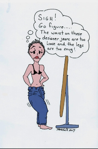 Cartoon: Designer Jeans (medium) by Toonstalk tagged designer,jeans,fit,awkward,body,sigh,mirror,model,bluejeans,disappointed,expectations,fashion,slim,waist,length,weight,normal,clothing