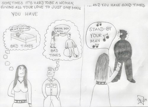 Cartoon: Stand-by your man (medium) by Tabatiere tagged beziehung,ehe,fernbedienung,tammy,wynette,stand,by,your,man