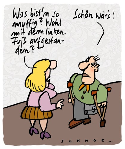 Cartoon: Linker Fuß (medium) by schwoe tagged behindert,aberglaube,prothese,krücke,laune