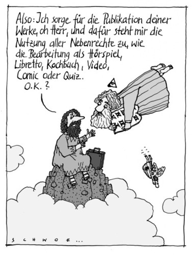 Cartoon: Vermarktung (medium) by schwoe tagged zehn,gebote,bibel,gott,moses,vermarktung,nebenrechte,publikation,copyright