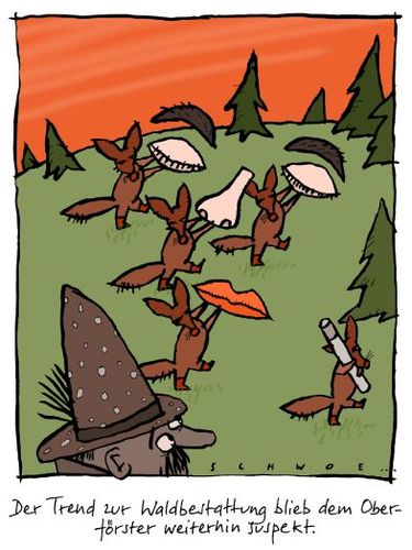 Cartoon: Waldbestattung (medium) by schwoe tagged beerdigung,grab,wald,förster,friede,friedwald