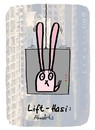Cartoon: Hasi 98 (small) by schwoe tagged hasi,hase,lift,aufzug,schnelligkeit,übelkeit