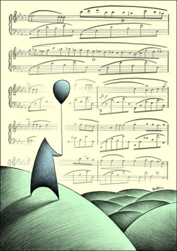 Cartoon: The Melody of Life (medium) by BenHeine tagged herecomesmymelody,poem,melodie,melody,heart,ballon,outside,landscape,paysage,nowhere,soul,ame,soft,dream,reve,droom,emotions,sentimental,freedom,activate,look,horizon,hills,sing,chant,corn,footstep,nature,harmony,poeme,beat,rhythm,ab,petersquinn,benheine,