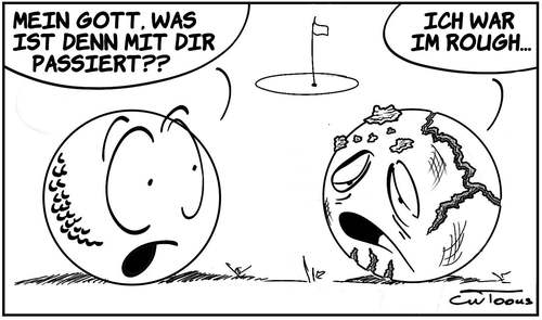 Cartoon: Im Rough (medium) by cwtoons tagged sport,golf,ball,spiel,unfall,drough