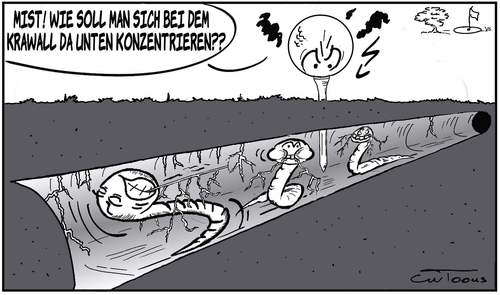 Cartoon: Mentale Probleme (medium) by cwtoons tagged sport,golf,wurm,würmer