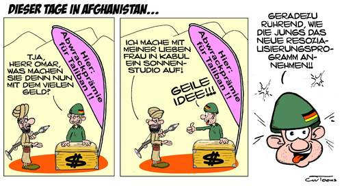 Cartoon: Neulich in Afghanistan... (medium) by cwtoons tagged afghanistan,taliban,hindukusch,bundeswehr,abwrackprämie