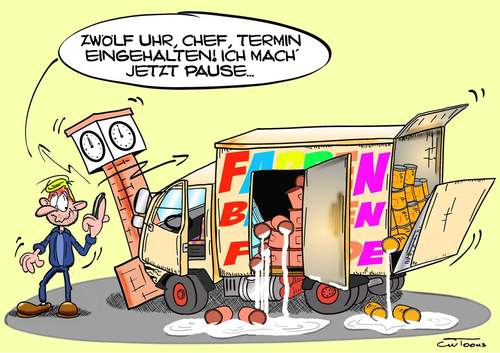 Cartoon: Shit happens... (medium) by cwtoons tagged lkw,truck,trucks,farbe,colour,unfall,accident