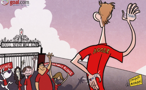 Cartoon: Agger (medium) by omomani tagged daniel,agger,liverpool