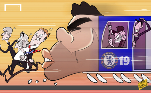 Cartoon: Chelsea train led by Costa (medium) by omomani tagged arsenal,chelsea,diego,costa,fabregas,manchester,city,united,mourinho,pellegrini,premier,league,van,gaal,wenger
