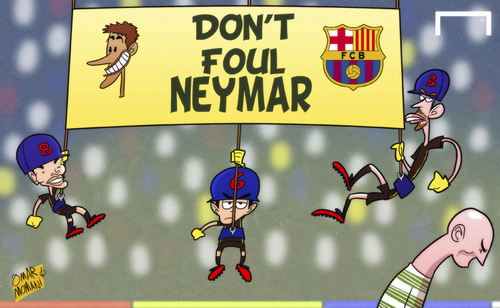 Cartoon: Dont touch Neymar (medium) by omomani tagged barcelona,celtic,champions,league,iniesta,neymar,pique,scott,brown,xavi