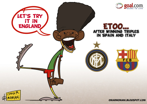 Cartoon: Etoo Loves England (medium) by omomani tagged etoo,inter,milan,serie,cameroon,barcelona,spain,england