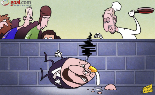 Cartoon: Humpty dumpty Benitez falls off (medium) by omomani tagged abramovich,cech,chelsea,david,luiz,rafael,benitez,torres