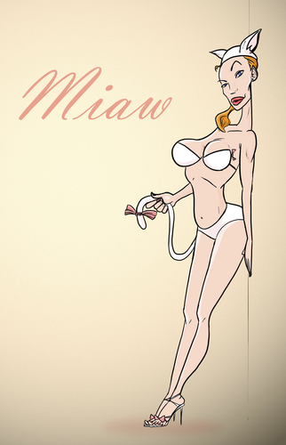 Cartoon: Miaw (medium) by omomani tagged gift,cat,miaw,woman,hot