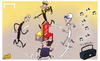 Cartoon: Champions League scrap (small) by omomani tagged arsenal,champions,league,chelsea,dortmund,jurgen,klopp,marseille,rafael,benitez,wenger,elie,baup