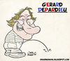 Cartoon: Gerard Depardieu (small) by omomani tagged gerard depardieu france actor calvin and hobbes cyrano de bergerac green card