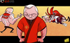 Cartoon: Kung fu Fergie (small) by omomani tagged david,beckham,ferguson,kevin,keegan,liverpool,manchester,united,rafael,benitez,rooney,wenger