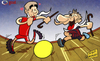 Cartoon: Messi and Gerrard (small) by omomani tagged barcelona,chelsea,england,la,liga,messi,premier,league,spain,steven,gerrard