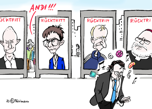 Cartoon: Rücktritts-Serie (medium) by Pfohlmann tagged 2020,deutschland,rücktritt,rücktritte,serie,kemmerich,thüringen,akk,kramp,karrenbauer,cdu,fdp,csu,scheuer,andi,verkehrsminister,klinsmann,marx,kardinal,trainer,2020,deutschland,rücktritt,rücktritte,serie,kemmerich,thüringen,akk,kramp,karrenbauer,cdu,fdp,csu,scheuer,andi,verkehrsminister,klinsmann,marx,kardinal,trainer