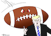 Cartoon: Trump Football (small) by Pfohlmann tagged karikatur,cartoon,color,farbe,2017,usa,trump,präsident,football,nfl,ball,flagge,fahne,respekt,rassismus,spieler,nationalhymne,hymne,knien,footballspieler