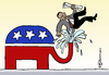 Cartoon: US-Gesundheitsreform (small) by Pfohlmann tagged usa,us,präsident,obama,gesundheitsreform,republikaner,elefant