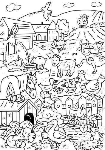 ausmalbild bauernhof von sabine voigt  wirtschaft cartoon